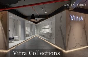 Inside of ABC Emporio Kochi one of the Best Sanitary Ware Showroom in Kerala dedicated area of vitra collections with a text saying vitra collections.
