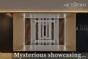 Inside of ABC Emporio Kochi one of the Best Sanitary Ware Showroom in Kerala SHowcasing Tile Areas with a text saying mysterious showcasing.