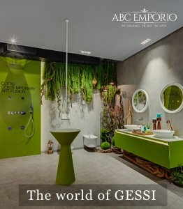 Inside of ABC Emporio Kochi one of the Best Sanitary Ware Showroom in Kerala dedicated area of Gessi with a text saying the world of gessi